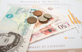 Monthly expenditure budgeting british pound sterling Royalty Free Stock Photo