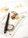 Monthly expenditure budgeting british pound sterling Royalty Free Stock Photos