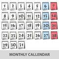 Monthly wall calendars with days icons set eps10