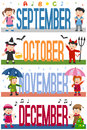 Months Banners with Kids [3] Royalty Free Stock Image