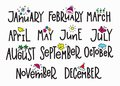 Months year calendar lettering typography Royalty Free Stock Photo