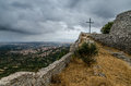 Montiferru castle cuglieri sardinia with town in the background Royalty Free Stock Photo