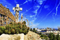 Montjuic cemetery in barcelona spain view of cementiri del sud oest or with the port the background Royalty Free Stock Images