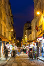 Montmartre by night - shopping street near Sacre Coeur Royalty Free Stock Photo