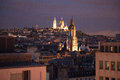 Montmartre at night view on the roofs and in paris Royalty Free Stock Photography