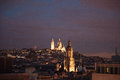 Montmartre at night view on the roofs and in paris Stock Photography