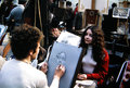Montmartre in paris france circa portrait artist making a painting of a woman picture of historical significance scanned from Stock Image