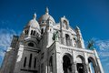 Montmartre sacre coeur paris with the blue sky background Royalty Free Stock Photo