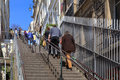 Montmartre steps people walking up stairs in paris france Stock Photos
