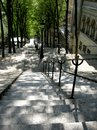 Montmartre steps in the section of paris Stock Photos