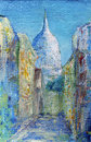 Montmartre street in the paris france painted by acrylic Stock Photo