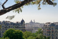 Montmartre view from parc of Buttes Chaumont Paris Stock Photo