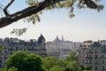 Montmartre view from parc of Buttes Chaumont Paris Stock Photo