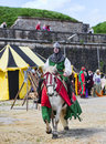 Montmedy france april th medieval knight riding his horse tournament historical reenactment festival montmedy france Royalty Free Stock Image