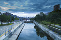 Montreal befor the storm downtown of panorama at dusk Royalty Free Stock Photography