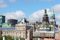 Montreal canada august skyline old montreal vieux cloudy day lot office buildings background right notre dame de bonsecours chapel Stock Photo