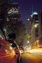 Montreal city street at night Royalty Free Stock Photo