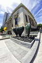 Montreal museum of fine arts thru a fisheye lens Stock Photos