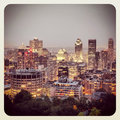 Montreal at night a birdseye view of beautifully lit downtown in from mont royal Stock Photos