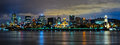 Montreal by night part of the skyline at with the old port in the foreground Royalty Free Stock Image