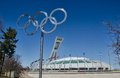 Montreal olympic stadium with rings Stock Photos