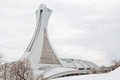 Montreal olympic stadium in winter in quebec canada the was built for summer olympics Royalty Free Stock Photography