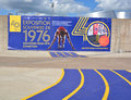 Montreal olympic 40th anniversary expo sign. Royalty Free Stock Photo