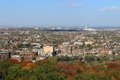 Montreal quebec with olympic stadium at autumn panoramic view of north canada during or fall season in the background Royalty Free Stock Photo