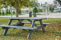 Montreal scene pinic table Royalty Free Stock Photo