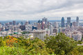 Montreal skyline viewed from the mount royal park quebec canada Stock Photos