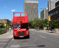Montreal travel red bus Stock Images