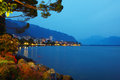 Montreux night the near the geneva lake in the Royalty Free Stock Image