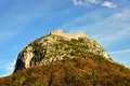 Montsegur cathar castle in france seen bellow fall ariege Stock Photography