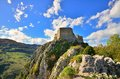 Montsegur cathar castle in france seen from the top ariege Royalty Free Stock Image