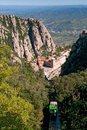 Montserrat Monastery and mountain cable car, Spain Stock Photos