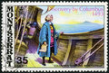 Montserrat shows image of the christopher columbus aboard ship sighting montserrat circa a stamp printed in devoted th Royalty Free Stock Photography
