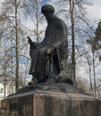Monument dedicated to saint savva storozhevsky of at the entrance of savvino monastery zvenigorod russia Stock Image