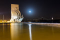 Monument of the discoveries moon nightscape in lisbon portugal with a full Stock Images