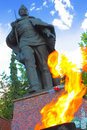 Monument with eternal flame in zvenigorod russia on the memorial of heroes of wwii Royalty Free Stock Photos