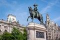 Monument. First king of Portugal Don Pedro IV in Porto Royalty Free Stock Photo