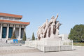 Monument in front of mausoleum of mao zedong revolutionary statues at tiananmen square beijing china Royalty Free Stock Image