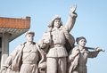 Monument in front of mausoleum of mao zedong revolutionary statues at tiananmen square beijing china Stock Image