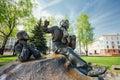 Monument in honor of the national poet and writer part belarus yakub kolas minsk belarus Stock Image