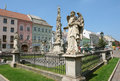 Monument with kolumn in kosice on the central street slovakia Royalty Free Stock Images