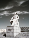 Monument konstantin tsiolkovsky infra red photo russia moscow may sculpture of well known founder of theoretical cosmonautics Royalty Free Stock Image