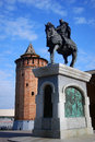Monument and Kremlin in Kolomna, Russia Stock Images