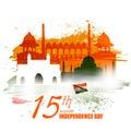 Monument and Landmark of India on Indian Independence Day celebration background