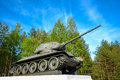 Monument of legendary tank of victory in great patriotic war Stock Photos