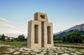 Monument of letter L from Glagolitic alphabet in Jurandvor near Baska, Island Krk Croatia. Royalty Free Stock Photo