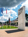 Monument of liberation in dolny kubin summer view main square town with flags and containing date april when was Royalty Free Stock Photography